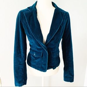 BB Dakota Teal Green Velvet Distressed Blazer Sz S